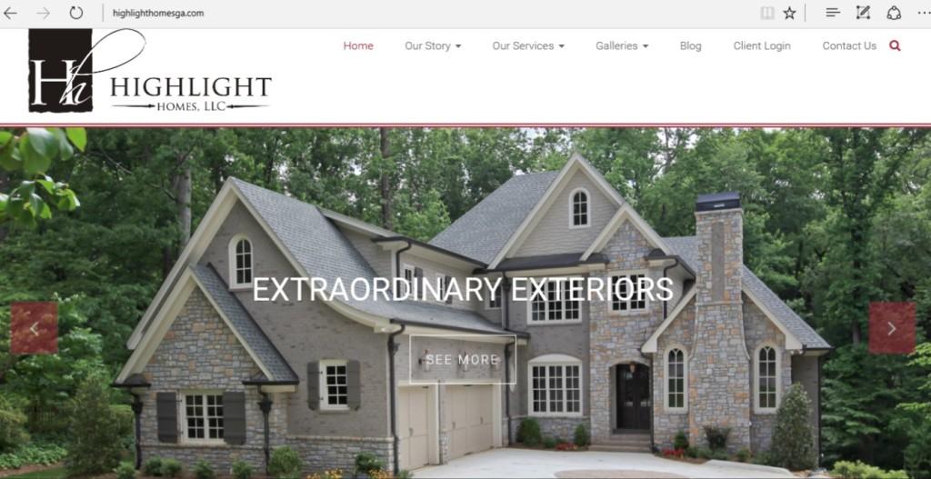 Highlight Homes 2016 Website Screen Shot